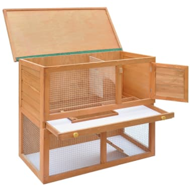 Outdoor Rabbit Hutch Small Animal House Pet Cage 1 Door Wood[4/9]