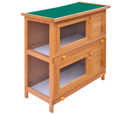 Outdoor Rabbit Hutch Small Animal House Pet Cage 4 Doors Wood[1/6]