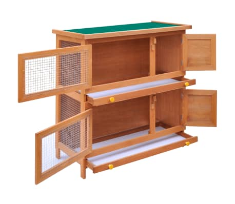 Outdoor Rabbit Hutch Small Animal House Pet Cage 4 Doors Wood[3/6]