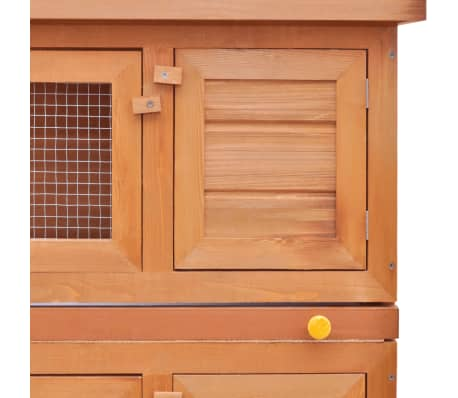 Outdoor Rabbit Hutch Small Animal House Pet Cage 4 Doors Wood[4/6]