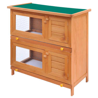Outdoor Rabbit Hutch Small Animal House Pet Cage 4 Doors Wood[2/6]
