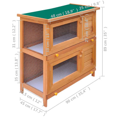 Outdoor Rabbit Hutch Small Animal House Pet Cage 4 Doors Wood[6/6]