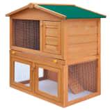 vidaXL Zunanji zajčnik / hišica za male živali s 3 vrati iz lesa