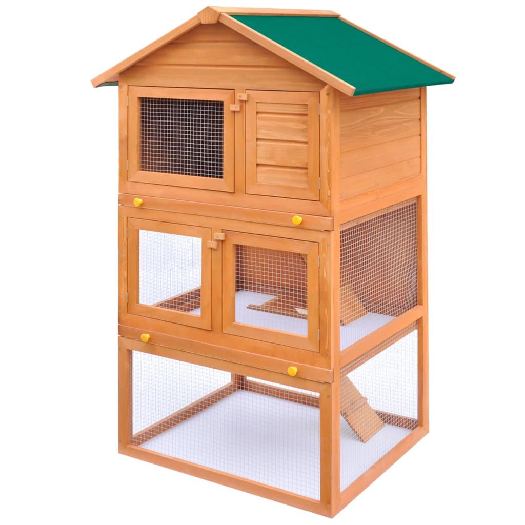 Cușcă de exterior iepuri cușcă adăpost animale mici 3 niveluri lemn vidaxl.ro