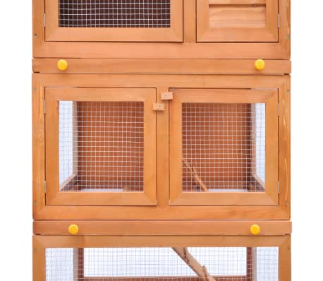 Outdoor Rabbit Hutch Small Animal House Pet Cage 3 Layers Wood[5/8]