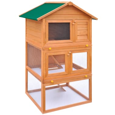 Outdoor Rabbit Hutch Small Animal House Pet Cage 3 Layers Wood[2/8]