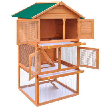 Outdoor Rabbit Hutch Small Animal House Pet Cage 3 Layers Wood[3/8]