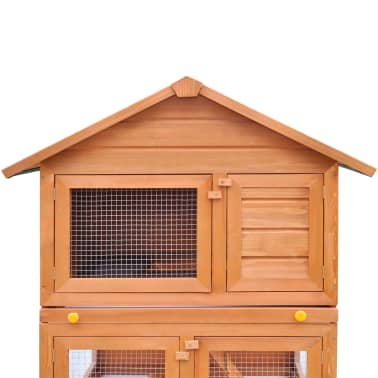 Outdoor Rabbit Hutch Small Animal House Pet Cage 3 Layers Wood[4/8]