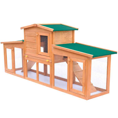 Large Rabbit Hutch Small Animal House Pet Cage with 2 Runs Wood[1/6]