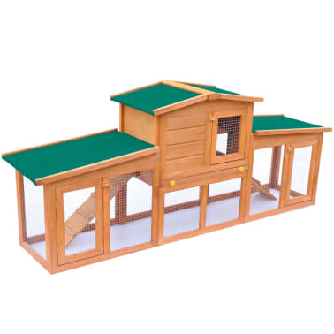 Large Rabbit Hutch Small Animal House Pet Cage with 2 Runs Wood[2/6]