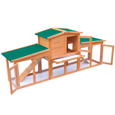 Large Rabbit Hutch Small Animal House Pet Cage with 2 Runs Wood[3/6]