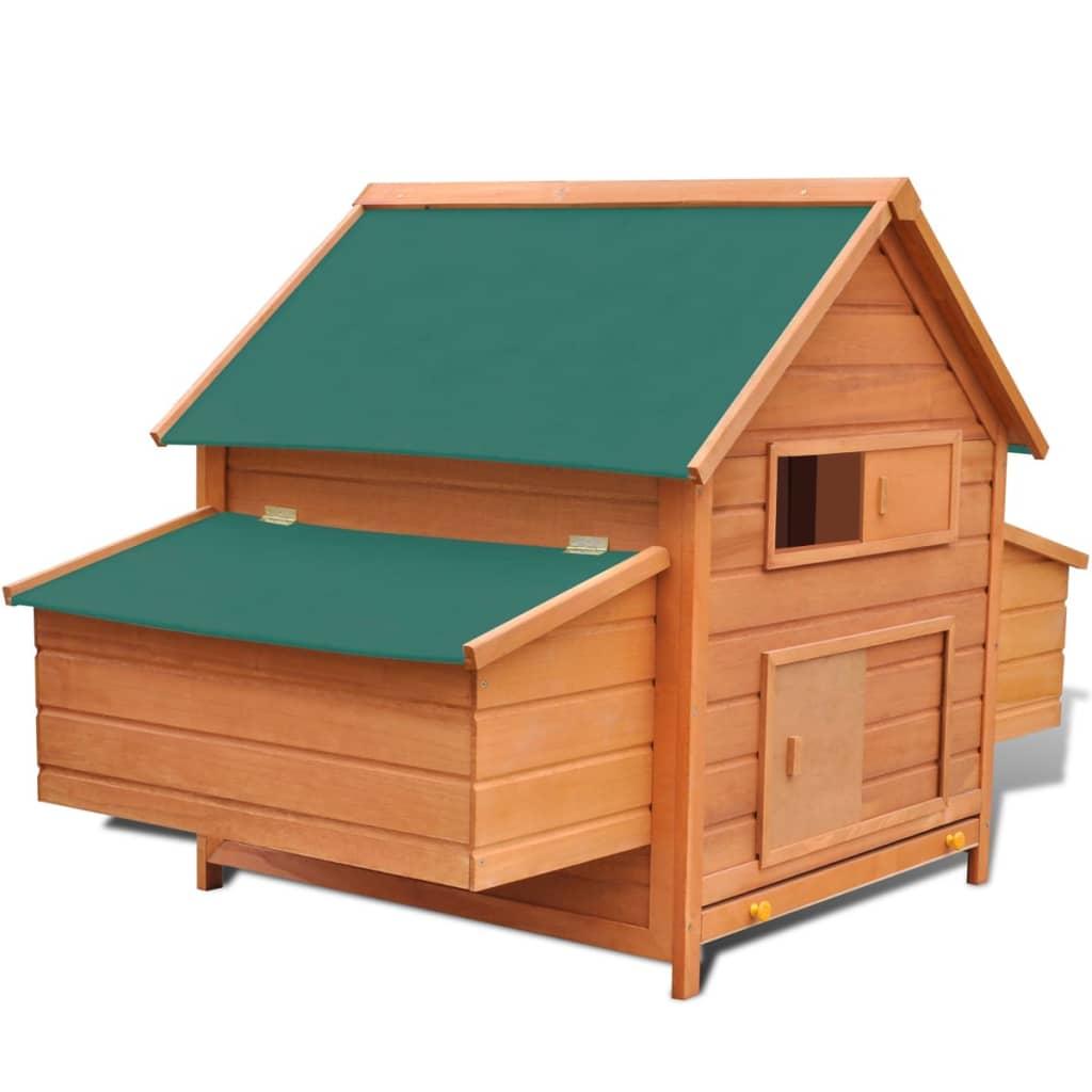 vidaXL Coteț de exterior pentru găini coteț păsări cu 2 cuibare lemn vidaxl.ro
