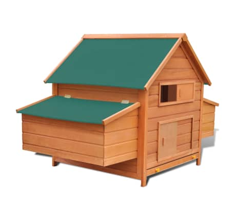 Outdoor Chicken Cage Hen House with 2 Egg Cages Wood[1/8]