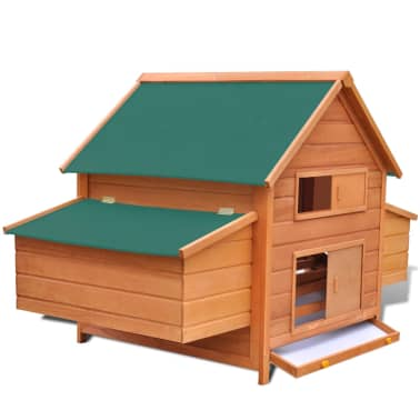 Outdoor Chicken Cage Hen House with 2 Egg Cages Wood[2/8]