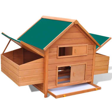 Outdoor Chicken Cage Hen House with 2 Egg Cages Wood[3/8]