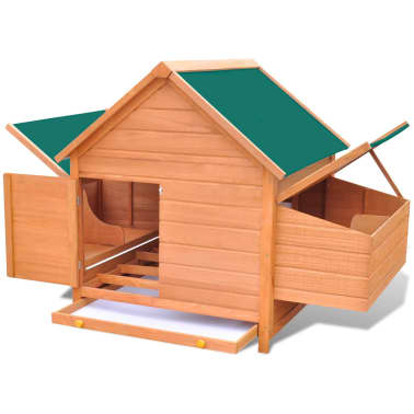 Outdoor Chicken Cage Hen House with 2 Egg Cages Wood[5/8]