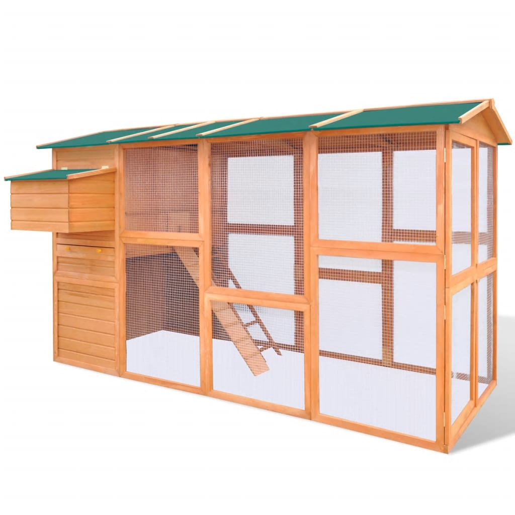vidaXL Outdoor Chicken Cage Hen House Large Space Wood
