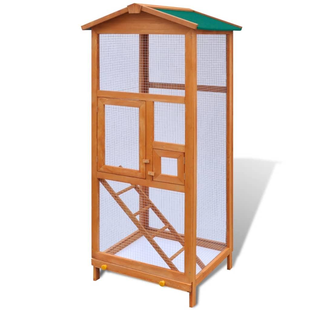 vidaXL Cușcă de exterior păsări adăpost animale mici, cu 2 uși, lemn vidaxl.ro