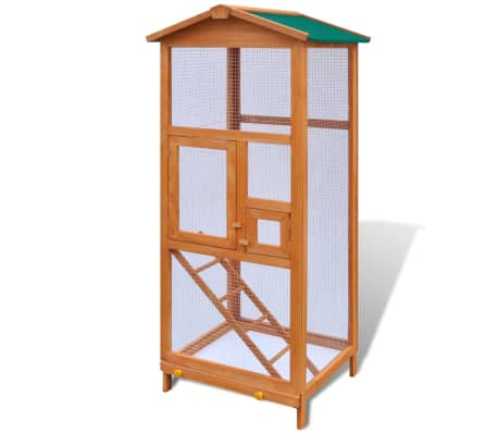 Outdoor Large Bird Cage Small Animal House 2 Doors Wood[1/6]