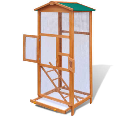 Outdoor Large Bird Cage Small Animal House 2 Doors Wood[2/6]