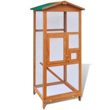 Outdoor Large Bird Cage Small Animal House 2 Doors Wood[3/6]
