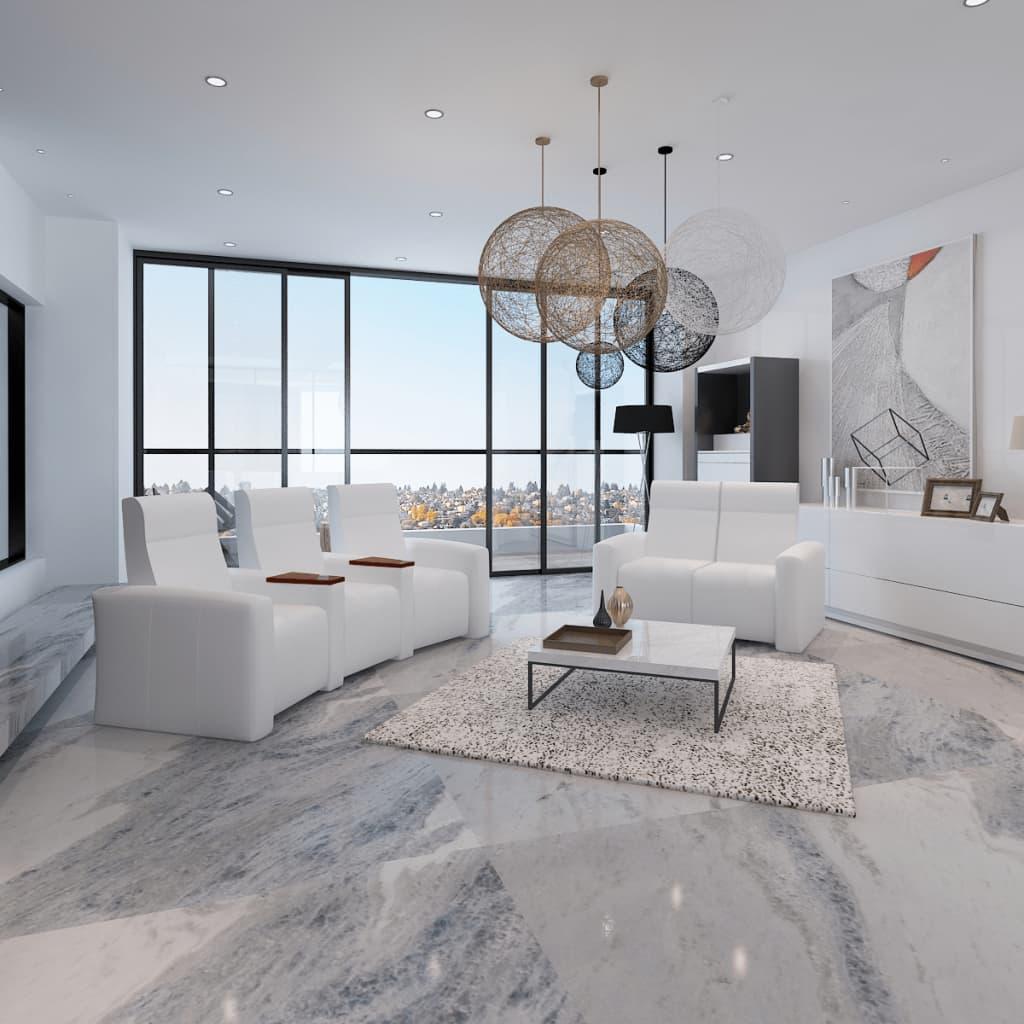 Luxusní 2+3- místná sklápěcí sedačka do domácího kina bílá