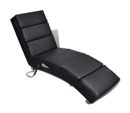 vidaXL Sillón de masaje reclinable de cuero sintético negro