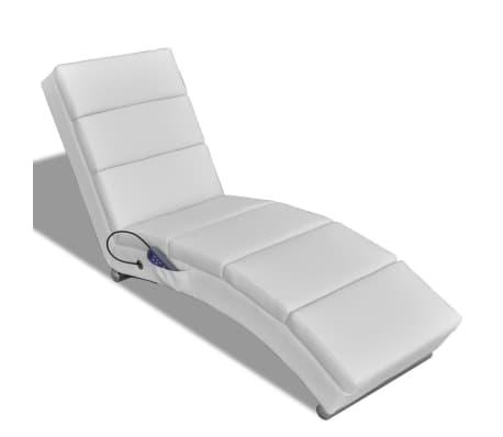 vidaXL Sillón de masaje reclinado de cuero artificial blanco [1/6]