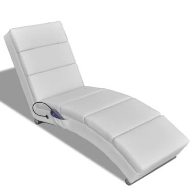 vidaXL Șezlong de masaj, piele artificială, alb[1/6]