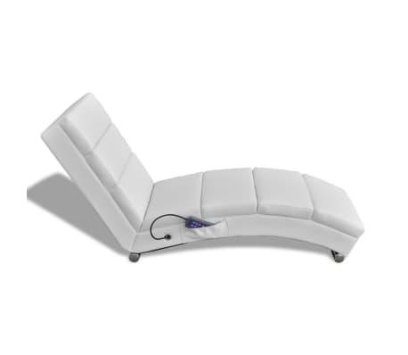 vidaXL Sillón de masaje reclinado de cuero artificial blanco [2/6]