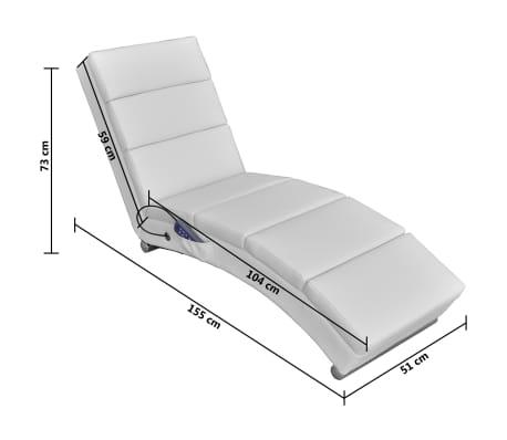 vidaXL Sillón de masaje reclinado de cuero artificial blanco [5/6]