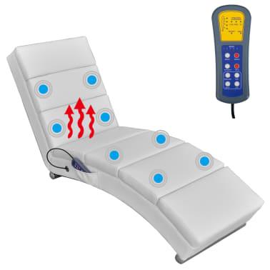 vidaXL Sillón de masaje reclinado de cuero artificial blanco [3/6]