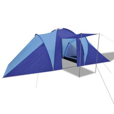 Tente de camping imperméable 6 Personnes Bleu marin/bleu clair[2/9]