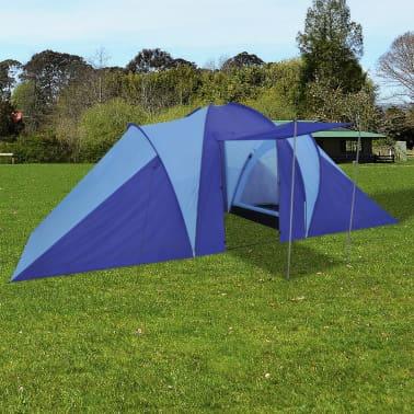 Tente de camping imperméable 6 Personnes Bleu marin/bleu clair[1/9]