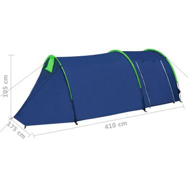 Campingtält 4-personer marinblå, gröna linjer[9/10]