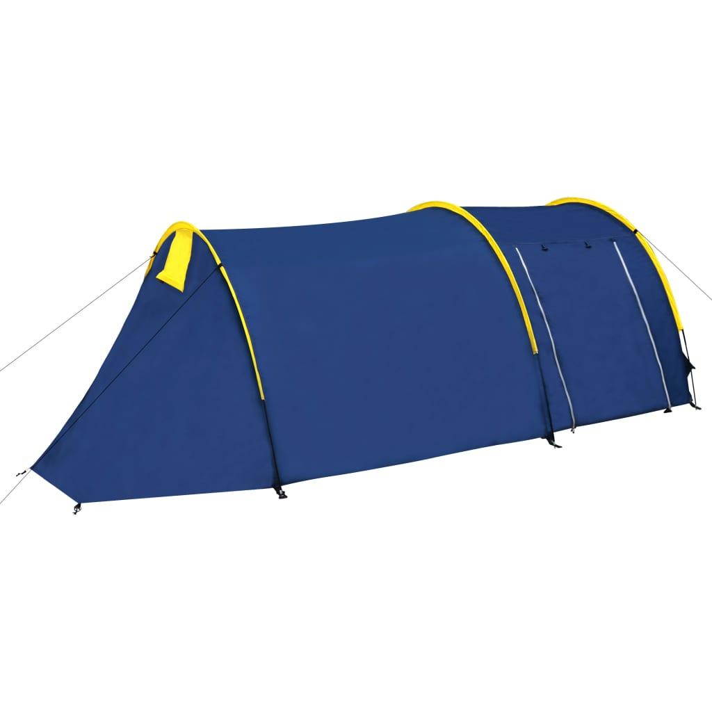 Kempový stan pro 4 osoby, námořnická modrá / žlutá