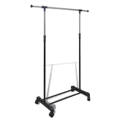vidaXL Perchero ajustable para ropa 4 ruedas 1 barras[1/8]