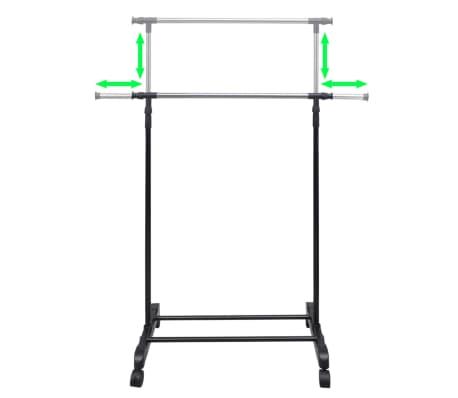 vidaXL Perchero ajustable para ropa 4 ruedas 1 barras[7/8]