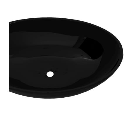 Luxusné keramické umývadlo, oválny tvar, čierne, 40 x 33 cm[4/6]