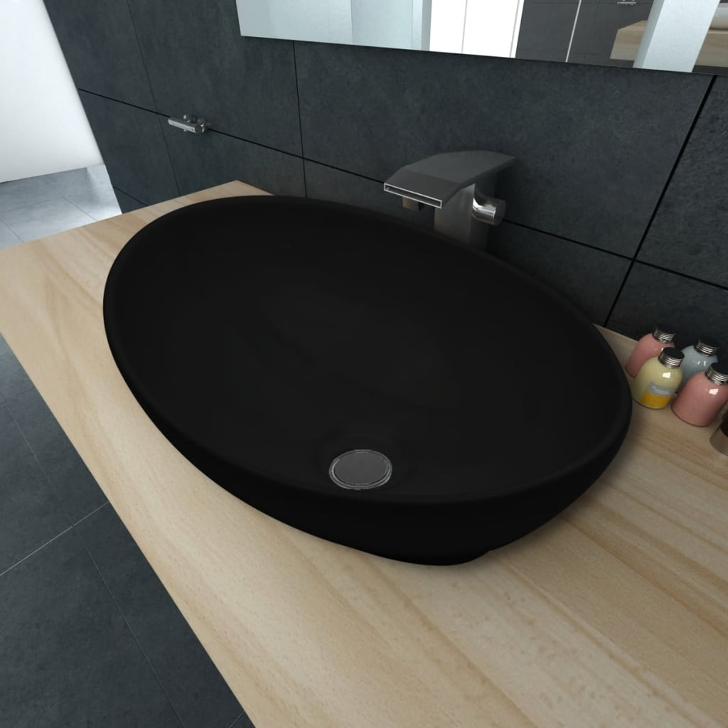 vidaXL Luxury Ceramic Basin Oval-shaped Sink Black 40 x 33 cm