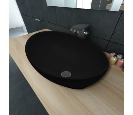 Luxusné keramické umývadlo, oválny tvar, čierne, 40 x 33 cm[1/6]