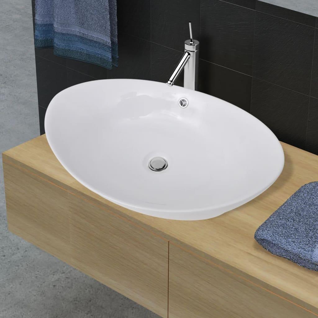 vidaXL Luxury Ceramic Basin Oval with Overflow 59 x 38.5 cm