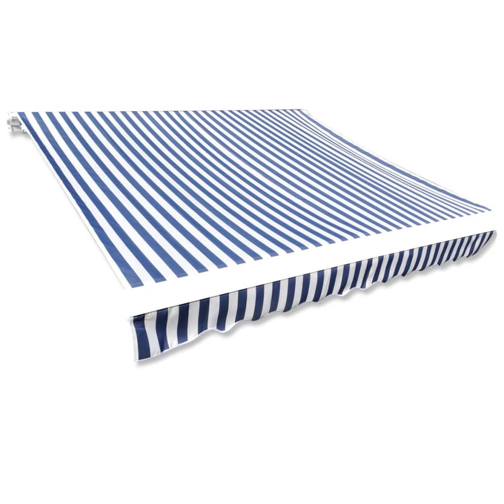 Afbeelding van vidaXL Canvas zonnescherm met luifel 4x3 m blauw wit frame niet inbegrepen