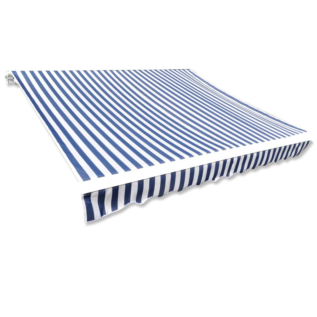 Canvas zonnescherm met luifer 6 x 3 m (blauw wit)