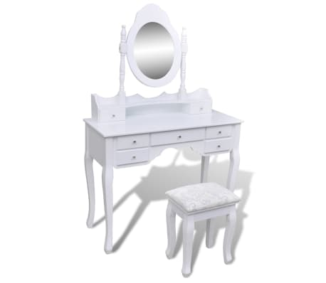vidaXL Dressing Table with Mirror and Stool 7 Drawers White[1/10]