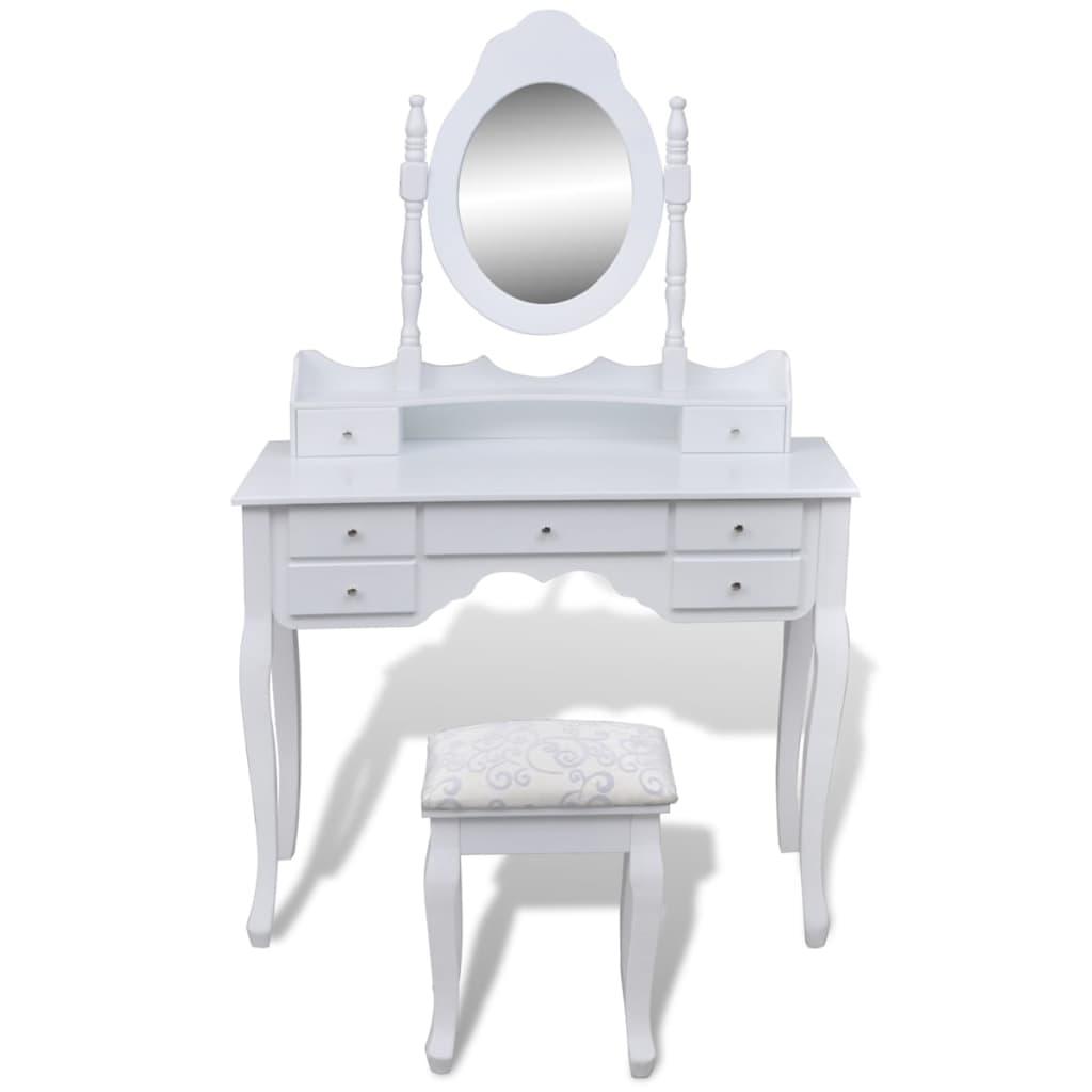 999241002 Schminktisch mit Spiegel und Hocker 7 Schubladen Weiß