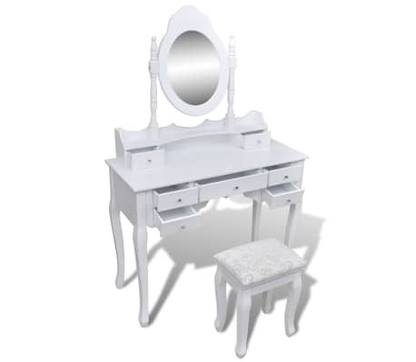 vidaXL Dressing Table with Mirror and Stool 7 Drawers White[4/10]
