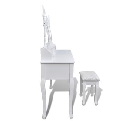 vidaXL Toaletna miza z ogledalom in stolčkom 7 predalov bela[4/10]