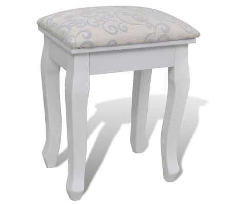 vidaXL Dressing Table with Mirror and Stool 7 Drawers White[8/10]