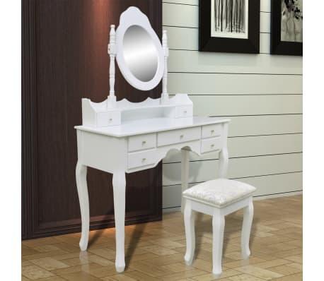 vidaXL Toaletna miza z ogledalom in stolčkom 7 predalov bela[9/10]
